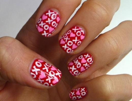 Heart Confetti Nail Art