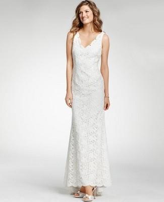 Ann taylor lace sleeveless wedding dress shefinds for Anne taylor wedding dress