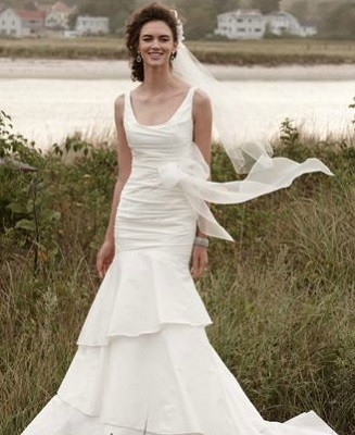 Nautical Gown — Taffeta Scoop Neck Ruched Bridal Gown with Tiering