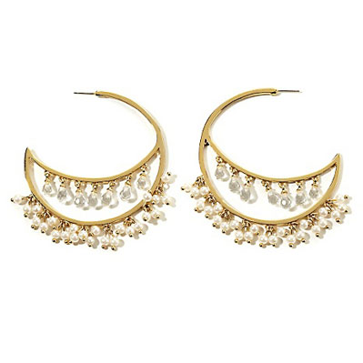 Pl by padma lakshmi simulated pearl and clear stone chandelier hoop pl by padma lakshmi simulated pearl and clear stone chandelier hoop earrings 3995 aloadofball Choice Image