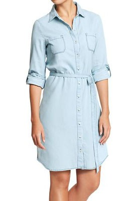 Women S Chambray Belted Shirt Dresses Shefinds