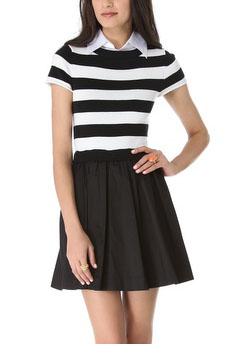 Alice Olivia Collared Knit Stripe Dress 330
