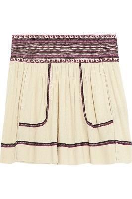 ÉTOILE ISABEL MARANT Dake embroidered silk-noil mini skirt