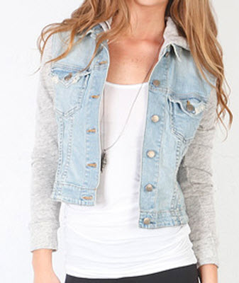 Hayden Panettiere Denim Jacket | Jet by John Eshaya Sweatshirt ...