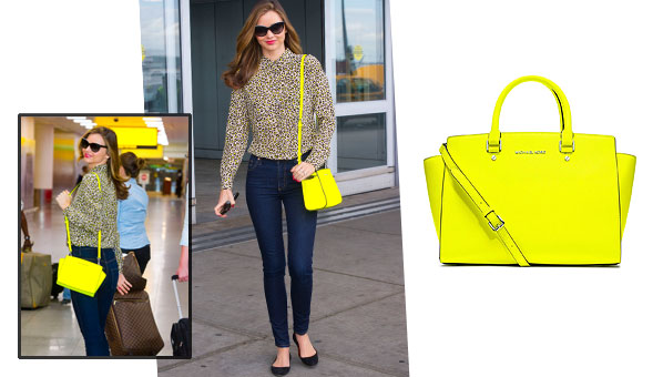 46516cbb8135 Forget A Statement Necklace! Miranda Kerr Proves A Statement Bag Is All You  Need
