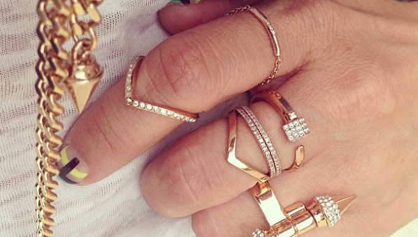 cute celebrity jewelry with trends rings stacked outfit fashion trend