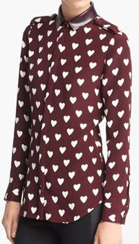 67ed4c832a0dc Burberry Prorsum Heart Print Mulberry Silk Blouse ...