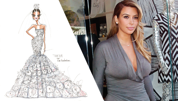 Kim kardashian wedding dress kim kardashian wedding dress sketch we all know that kim and kanyes wedding is going to be one of the best weddings of all time i mean did you see that engagement video junglespirit Image collections