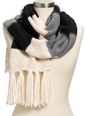 Women's Bold-Stripe Sweater Scarves