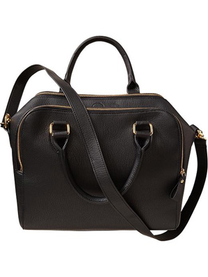 Women's Faux-Leather Double-Zip Bowler Bags