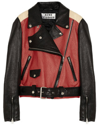 Acne Merci Colorblock Textured Leather Biker Jacket