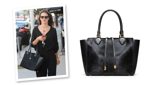 638a27312 Alessandra Ambrosio's Killer Calf-Hair Tote Will Put Your Boring Black Bag  To Shame