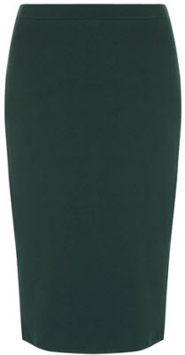 Green ponte pencil skirt