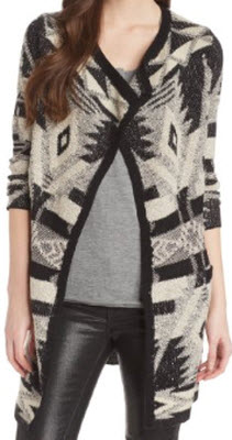 Lucky Brand Aztec Drapey Wrap Sweater