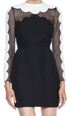 Valentino Scalloped wool-blend crepe and silk-organza dress