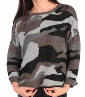 Vintage Havana Camo Print Slash Back Sweater