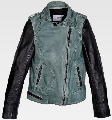 Doma Leather Contrast Sleeve Biker Jacket in Green and Black