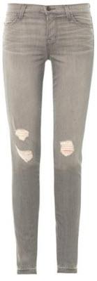 J Brand Mid Rise Skinny Leg Distressed Jeans