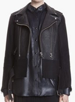 Sandro Version Belted Leather and Wool Moto Jacket