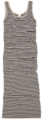 Tees by Tina Micro Stripe Dress in Oatmeal Heather Navy