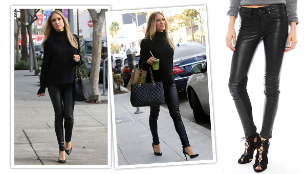 11f665b6a5cb2 Sure, she may be pregnant and all, but that isn't stopping pseudo-celeb  Kristin Cavallari from rocking skin tight leather pants and looking  fabulous all the ...