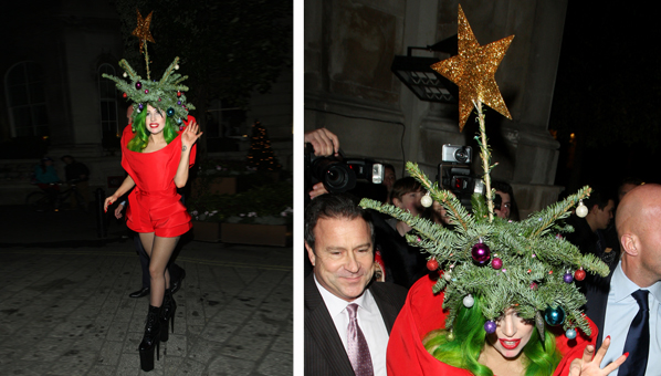 not one to be out costumed lady gaga just won christmas sweater season by wearing a literal christmas tree on her head so your quest to be quirkier than