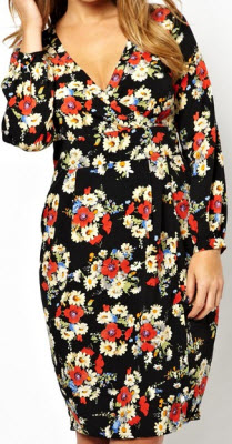 ASOS Curve Wrap Dress in Floral Print