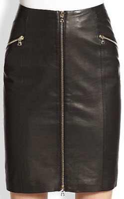 J Brand Ready to Wear Maxine Zip Front Leather Skirt