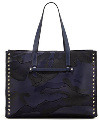 Valentino Rockstud Camo Print East West Tote Bag