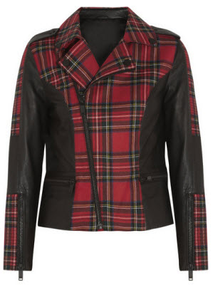 Karl Lagerfeld Vicious Leather Trimmed Tartan Wool Biker Jacket