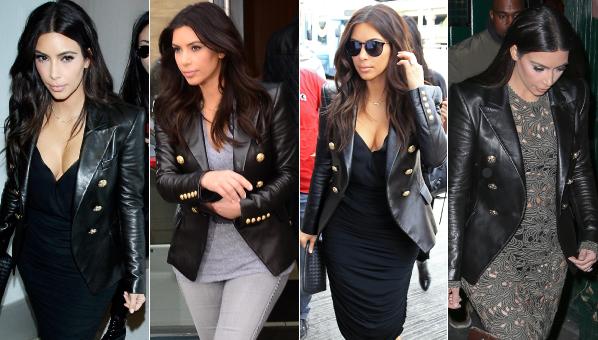 Blazer Balmain Blazer Balmain Leather Kim Kim Kardashian Kim Kardashian Leather qBzztpnU