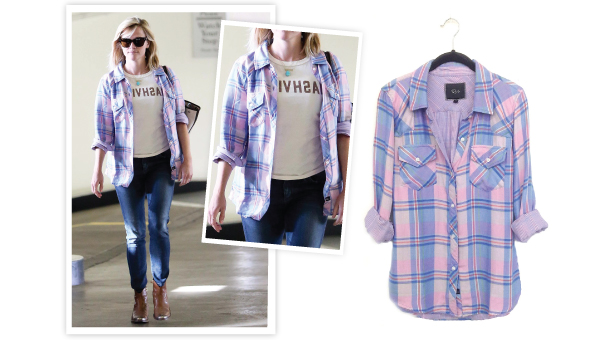 5bcdeb64a4d2f Reese Witherspoon Plaid Shirt | Rails Kendra in Pink Pastel - SHEfinds