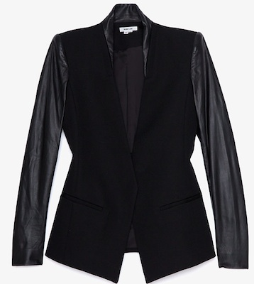 Helmut Lang Crux Leather Sleeve Blazer