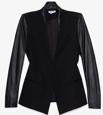 Helmut Lang Crux Leather Sleeve Blazer
