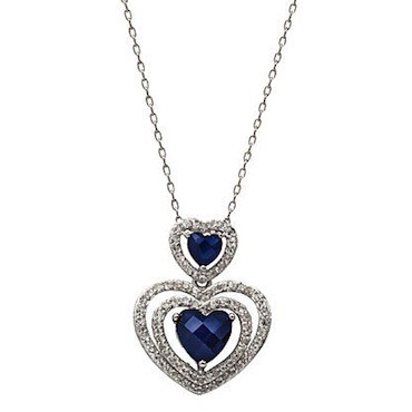 Sears | Lab Created Sapphire Heart Pendant Sterling Silver