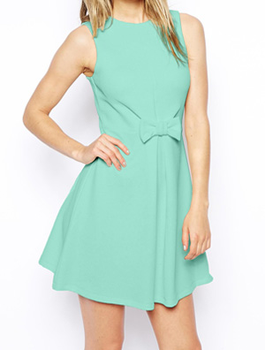 6d9e58e7feea1 ASOS Skater Dress in Texture with Bow Front ($53.35)