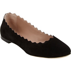 chloe suede scalloped flats