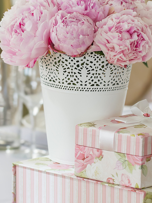 Collect all floral arrangements and decor accessories.
