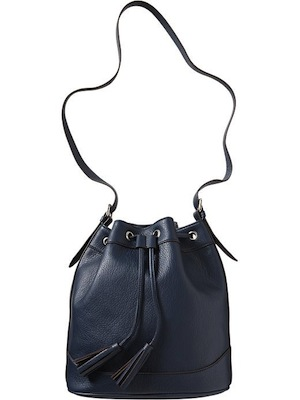 Old Navy Womens Faux Leather Tasseled Bucket Bag