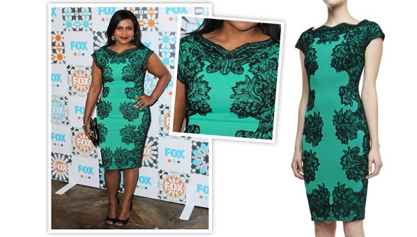 Mindy Kaling Green Dress Tadashi Shoji Lace Outlined Dress