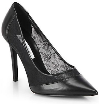 DVF Biance Leather and Lace Pumps
