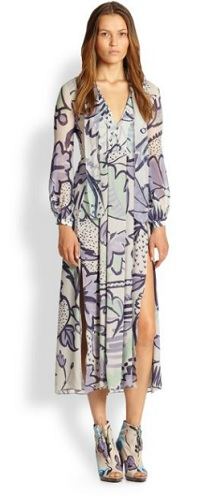 burberry floral print silk dress