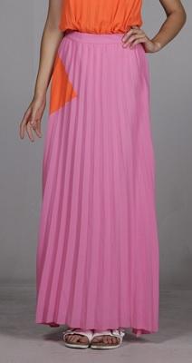 line and dot sunburst pleated skirt