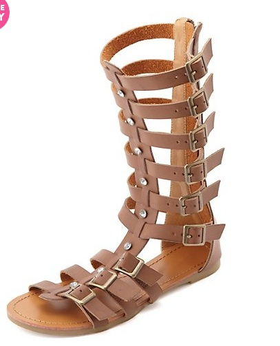 Rhinestone Mid-Calf Gladiator Sandal