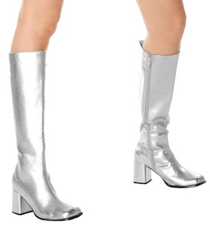 Silver Gogo Costume Boots Adult