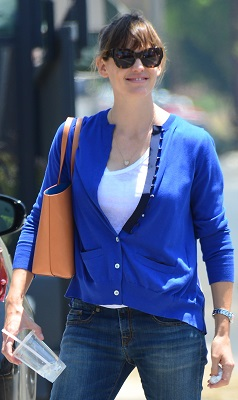 Jennifer Garner looking very casual in blue jeans while out and about with a friend in the Larchmont area of Los Angeles, CA