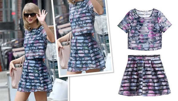 Taylor Swift Matching Set H M Patterned Organza Blouse And Skirt