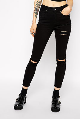 f98d06f17dd ASOS Ridley Skinny Ankle Grazer Jeans in Clean Black with Thigh Rips and  Busted Knees ($66.33)