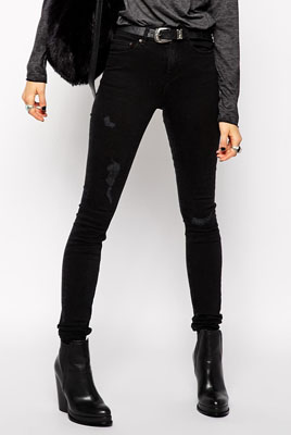 b2877f9811f ASOS Ridley Skinny Jeans in Washed Black with Rip And Repair Abrasions  ($66.33)