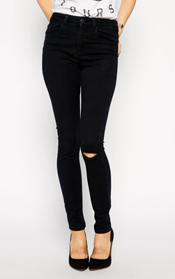 b25a94698c1 BCBGeneration Jeans – The Stacked Skinny in Black Distressed - SHEfinds